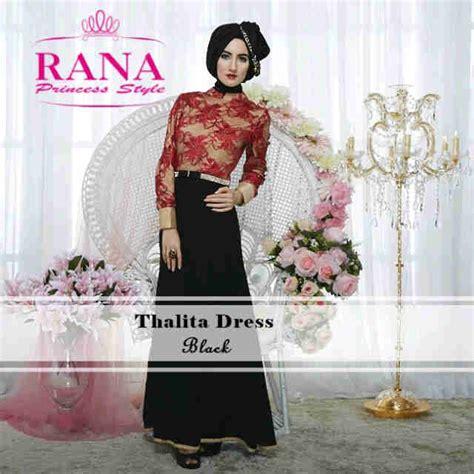 Gamis Ceruty Brukat Payet thalita dress black baju muslim gamis modern