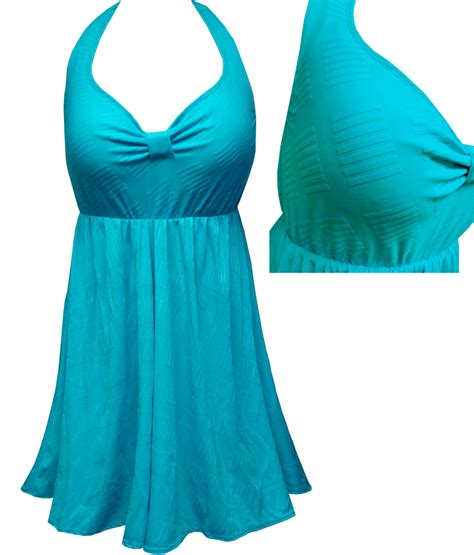 Cut Out Back Swim Dress sold out clearance teal with lines print plus size