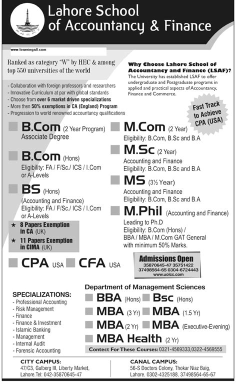 Mba In Aviation Management In Pakistan by Lahore School Of Accountancy Finance Admissions Open 2015