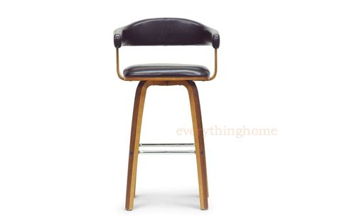 mid century modern leather counter stools walnut black faux leather mid century modern wood counter