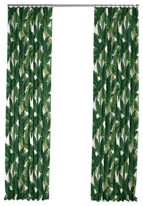 Tropical Print Curtains Green Banana Leaf Pleated Curtain Single Panel Tropical Curtains By Loom Decor