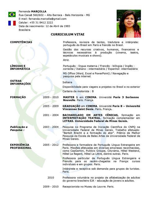 Modelo Curriculum Vitae No Brasil Curriculum Brasil Acquis