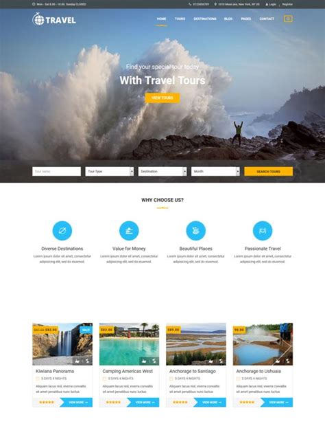 70 Best Travel Website Templates Free Premium Freshdesignweb Tour Operator Website Template