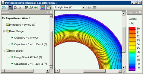 voltage of a spherical capacitor spherical capacitor quickfield fea software