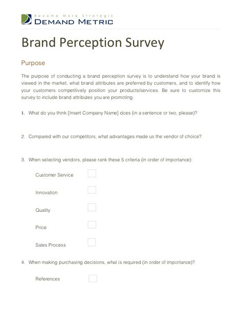 brand awareness survey template brand perception survey
