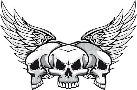 three danger skulls with wings for tattoo or mascot design