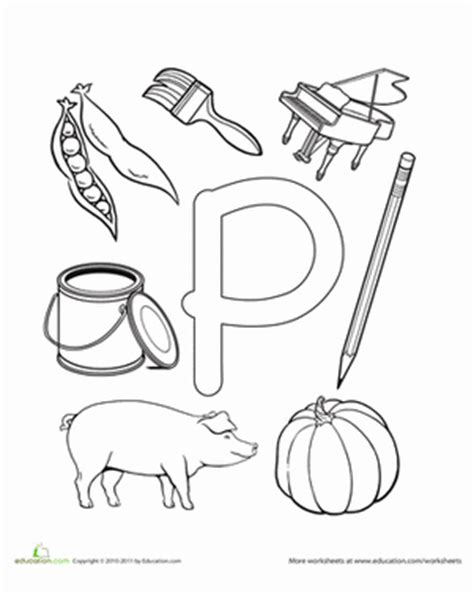 Letter P Coloring Pages Kindergarten by P Is For Worksheet Education