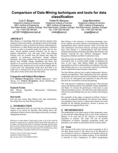 (PDF) Comparison of data mining techniques and tools for