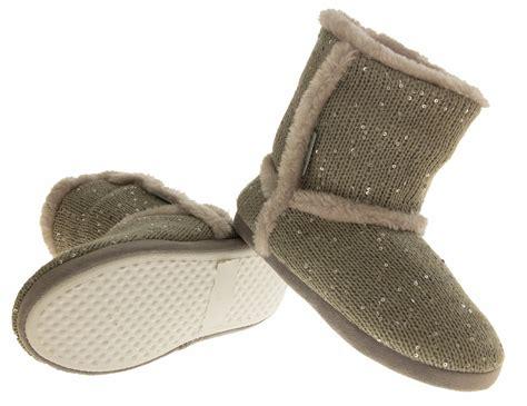 fleece slipper boots womens boot slippers fur sequin fleece lined comfort