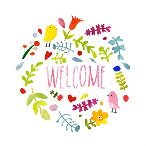 Colorful Hand Drawn Welcome Card Doodle Style Illsutration With Beautiful Floral Pattern And Welcome Home Card Template