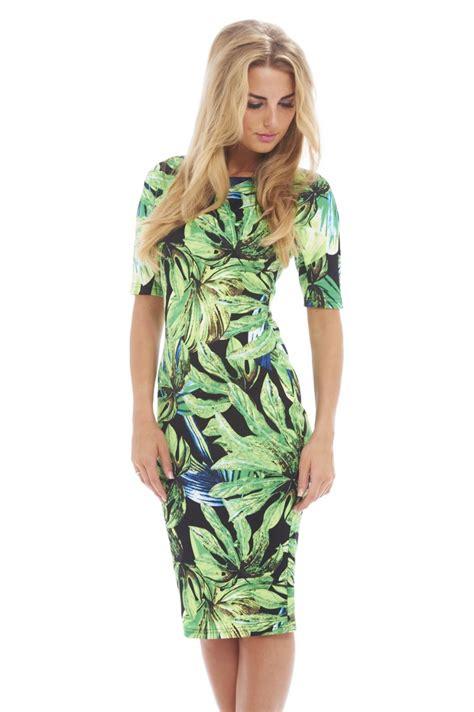 Leaf Print Dress Smlxl S460 ax s leaf tropical green print three quarter sleeve black dress exclusive