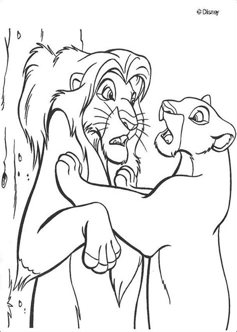 nala finds simba coloring pages hellokids com