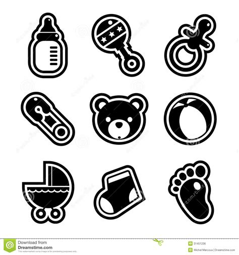 imagenes baby shower blanco y negro baby shower icons royalty free stock image image 31451236