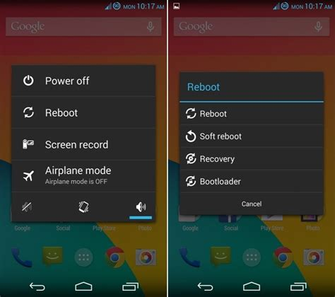 how to reboot android add reboot recovery soft reboot option on android power menu