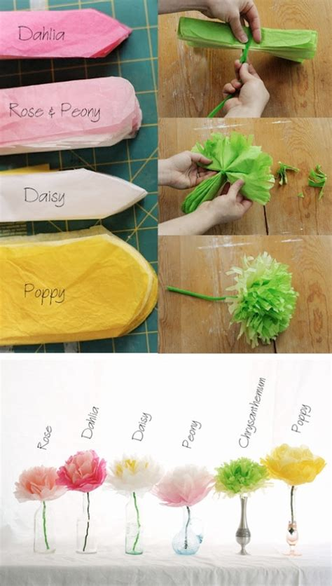 How To Make Different Types Of Flowers With Paper - diy wedding crafts tissue paper flower tutorial diy