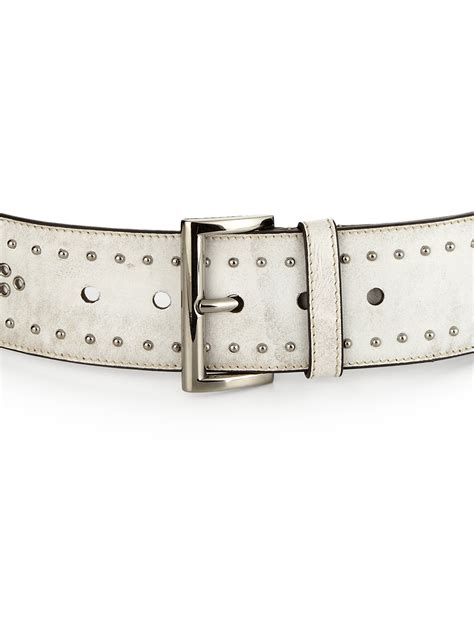 prada studded wide leather belt in white lyst