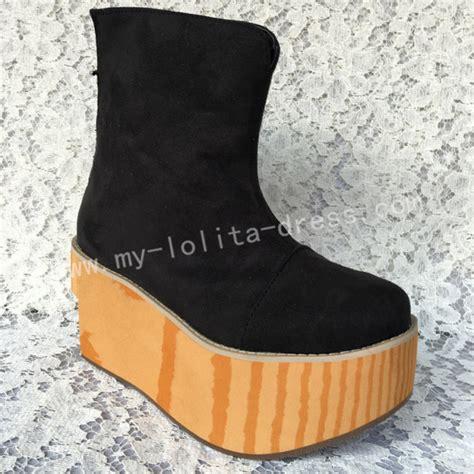 black velvet wood sole high platform boots sweet