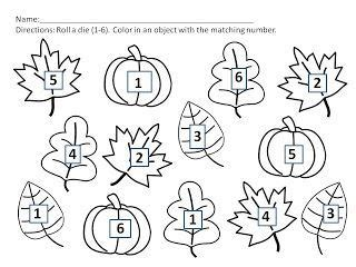 pumpkin color words for fall kinderland collaborative fall freebie students roll one die and color that number