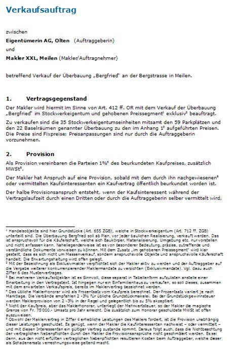 Muster Treuhandvertrag Schweiz muster maklervertrag vorlage zum