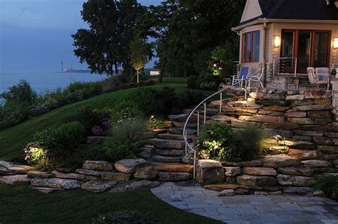 walkout basement backyard ideas backyard walk out basement sloped planting and steps
