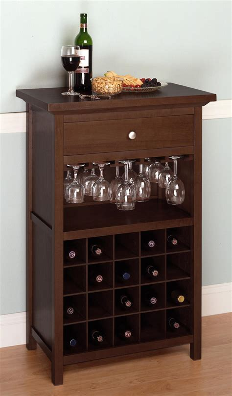Kitchen Wine Cabinets Winsome Wine Cabinet With Drawer And Glass Rack By Oj Commerce 94441 163 07