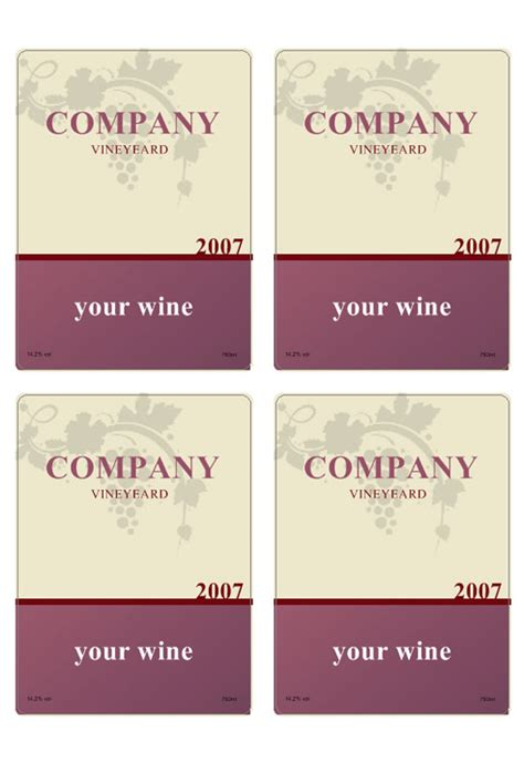 Printable Wine Label Templates | wine label template personilize your own wine labels