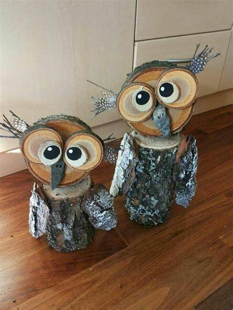 wood log owl decorations crafty morning