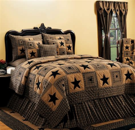 country curtains quilts vintage star black quilted bedding set by india home