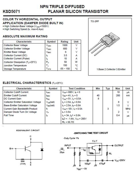 Transistor D5071 npn diffused planar silicon transistor d5071