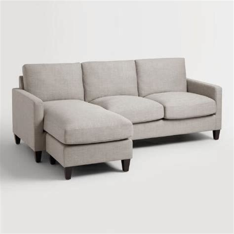 world market abbott sofa dove gray textured woven abbott sofa world market