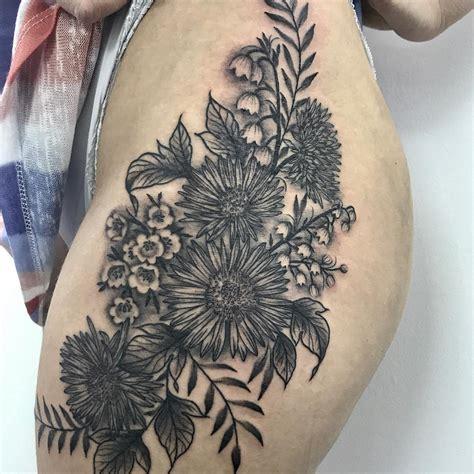 black  white detailed floral tattoo  side thigh entertainmentmesh