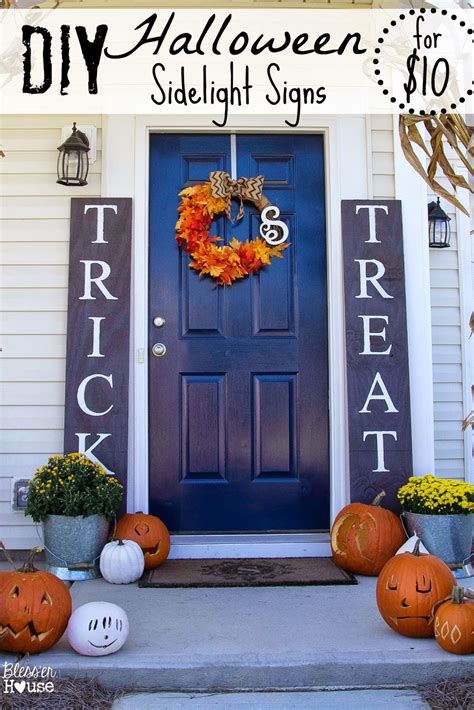 Country Style Home Decor Ideas diy halloween sidelight signs and fall porch reveal
