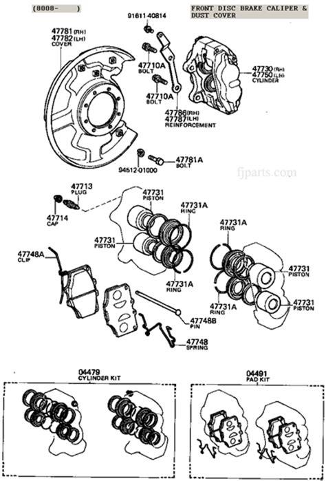 diagram of brake caliper assembly fj40 fj55 fj60 fj80 disc brake caliper illustration diagram
