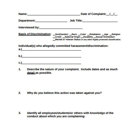 7 Harassment Complaint Forms Sles Exles Formats Sle Templates Workplace Harassment Complaint Form Template