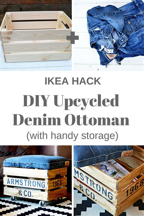 ikea hack storage ottoman nifty denim diy ottoman crate with storage an ikea hack