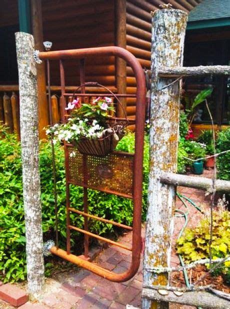 garden gate headboard old metal headboard of bed re purposed into a rustic