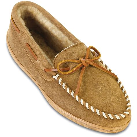 mens moccasin house shoes men s minnetonka moccasins 174 sheepskin hardsole moc slippers tan 95322 slippers at