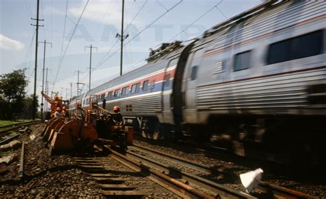 amtrak 1970 s metroliner service train passing a track crew 1978
