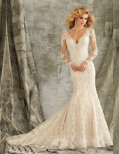 Brautkleid Spitze Langarm by Sleeve V Neck Illusion Back Wedding Dress Lace Ivory