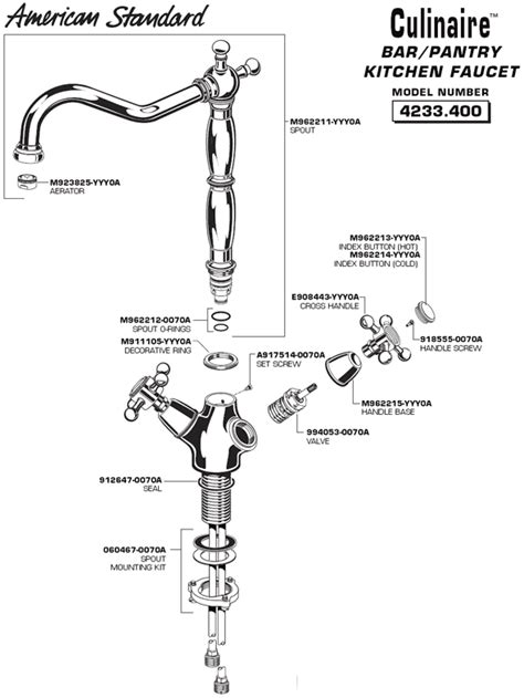 american standard kitchen faucet parts diagram plumbingwarehouse american standard commercial faucet parts for model 4233 400