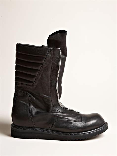 rick owens mens zipped boots in black for lyst