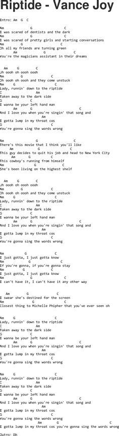 printable riptide lyrics vance joy riptide chords capo 1 vance joy pinterest