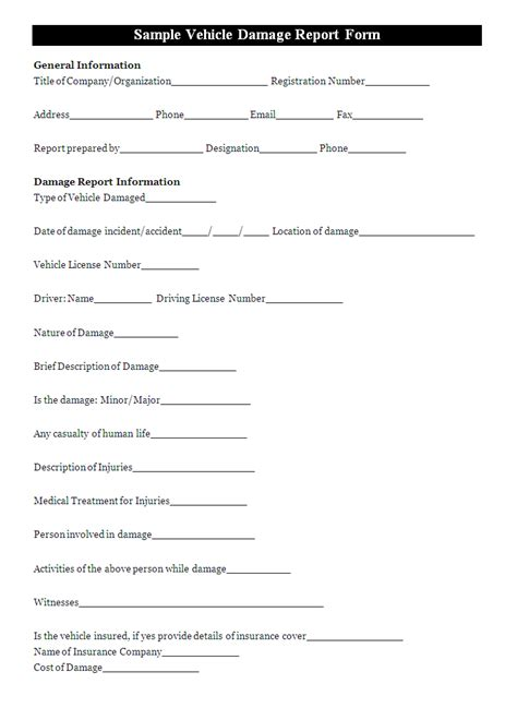 damage report template a vehicle damage report template is usually filled to