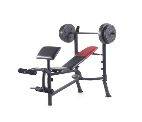 simple bench press weider pro 265 standard bench with 80 lb vinyl weight set