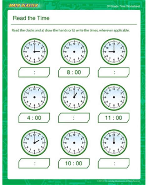 read the time free time worksheet for 3rd grade math