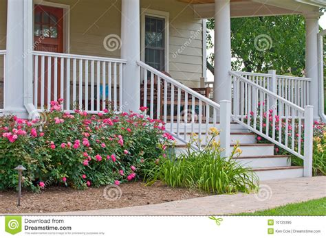 Porch Handrails For Steps Home Landscaping Porch Royalty Free Stock Photo Image