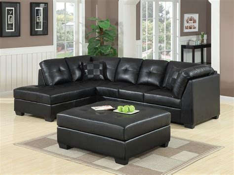 contemporary black leather sectional sofa left side chaise by coaster darie leather sectional sofa with left side chaise ottoman