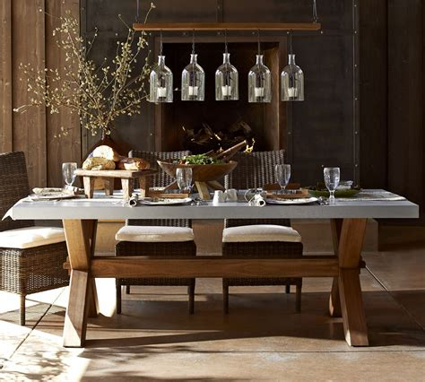 Pottery Barn Dining Tables Abbott Zinc Top Rectangular Fixed Dining Table Pottery Barn Australia Outdoor Living By