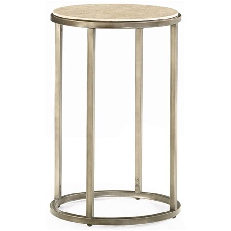 modern round end table collection in modern accent table hammary modern basics round end table with bronze finish