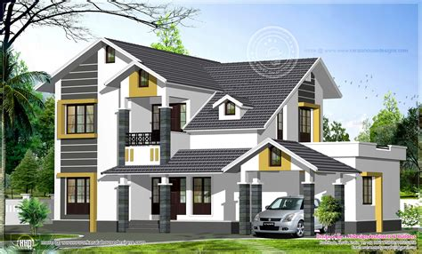 sloping roof house designs sloping roof home exterior in 2474 sq feet house design